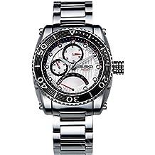 Jiusko 50LSB01 Men's Multifunction Quartz 24 Hr. Stainless Steel 200m Diver's Watch, Silver