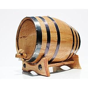 5 Liter Whiskey Oak Barrel for Aging – Golden Oak Barrel with Black Steel Hoops – Aging and Recipes Digital Guide included