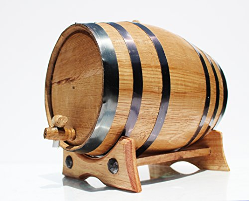 5 Liter Whiskey Oak Barrel for Aging – Golden Oak Barrel with Black Steel Hoops – Aging and Recipes Digital Guide included (Longer Barrel)