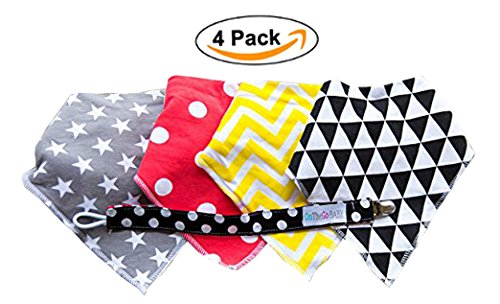 Absorbent Drool Baby Bandana Bibs by OnTheGoBaby, Perfect Shower Gifts 4 Pack Set with Snaps, Soft and Stylist Cute Infant Accessories with Free Pacifier Clip for Feeding Teething and Drooling