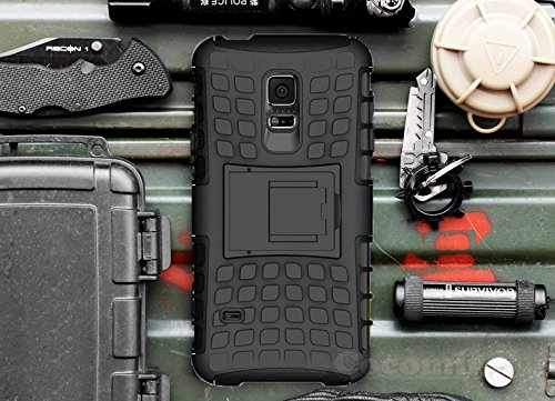 Cocomii Grenade Armor Galaxy S5 Mini Case New [Heavy Duty] Premium Tactical Grip Kickstand Shockproof Bumper [Military Defender] Full Body Dual Layer Rugged Cover for Samsung Galaxy S5 Mini (G.Black) (Samsung Galaxy S5 Mini Tough Case)