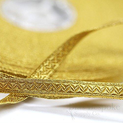 RIVA Narrow Yellow Gold Bullion Braid Trim with Chevron Pattern: 5 Yards