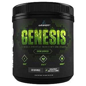 Legion Genesis Green Superfood Powder - With Spirulina, Dandelion, Moringa Oleifera, Maca Powder, Astragalus Root & Reishi Mushroom. All Natural Immune System Booster On The Go, 30 Servings!