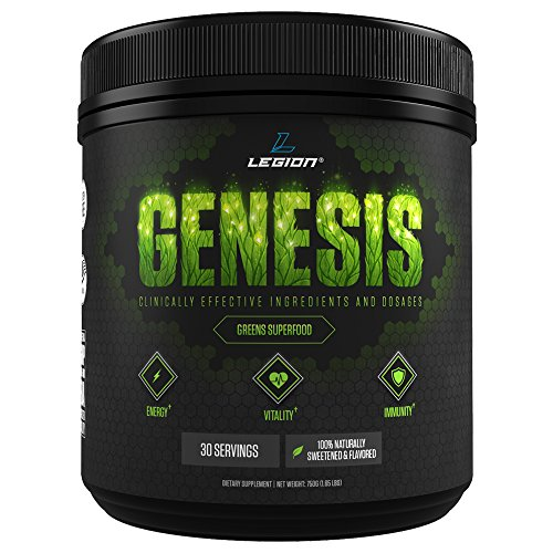 Legion Genesis Green Superfood Powder   With Spirulina  Dandelion  Moringa Oleifera  Maca Powder  Astragalus Root   Reishi Mushroom  All Natural Immune System Booster On The Go  30 Servings