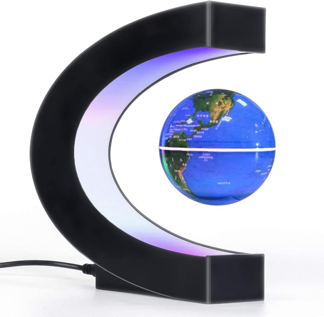 Magnetic Levitation Floating Globe with LED Light, Desk Gadget Decor, Fixture Floating Globes & Shade, Cool Tech Gifts for Men/Father/Husband/Boyfriend/Kids/Boss, Great gift idea (blue)