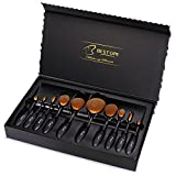 BESTOPE Oval Makeup Brushes Set with Case Box, Professional Soft Toothbrush Makeup Brush Kit, Foundation Brush for Powder Cream Concealer (10pcs, Black)