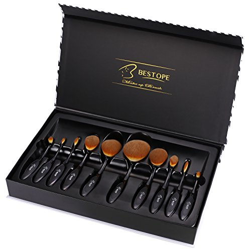 BESTOPE Makeup Brushes 10 Pieces Oval Makeup Brush Set Professional Contour Soft Toothbrush with Shaped Design for Powder Cream Concealer 51sgp2AP34L