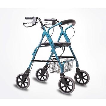 Olydmsky Carrito de Compras para Personas Mayores Caminador de Aluminio de Cuatro Ruedas Puede Sentarse Carro de Compras Walke: Amazon.es: Jardín