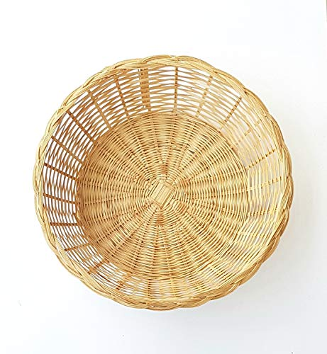 MY HOPE Natural Bamboo Round Basket for Bread Breakfast 11 Inch ()