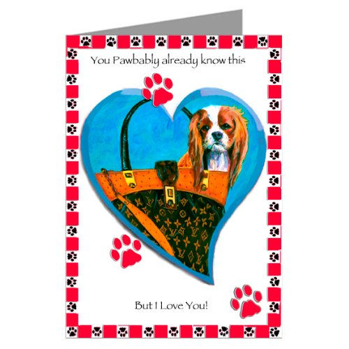Cavalier King Charles Spaniel in Haute Couture Inspired Handbag Six Valentines Cards in a boxed set