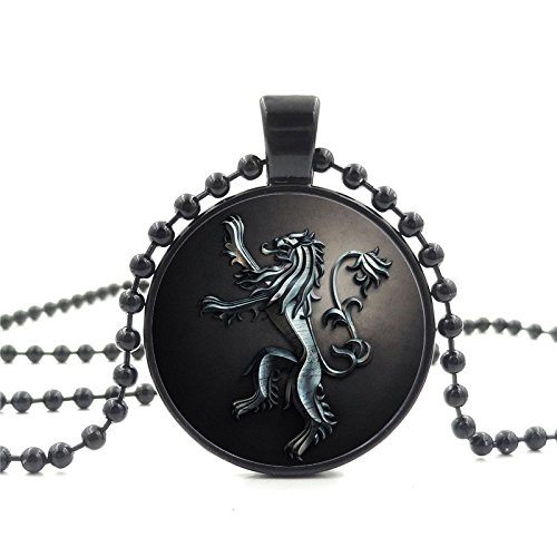 Game of Thrones Inspired Necklace Black Glass Cabochon Lannister Lion Charm