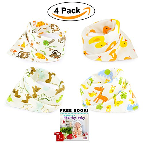 Absorbent Terry Cloth Pullover (ABI Kids  Anti-Smell Anti-Bacterial Quick Dry Avoids Drool RashCotton Bandana Baby Bibs with Nickel-Free Snaps, 4-Pack)
