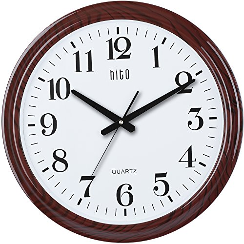 hito Modern Silent Wall Clock Non ticking 19 inch Excellent Accurate Sweep Movement Glass Cover, Decorative for Kitchen, Living Room, Bathroom, Bedroom, Office (19 inches, Wood)