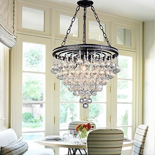 Saint Mossi Modern K9 Crystal Raindrop Chandelier Lighting Flush Mount LED  Ceiling Light Fixture Pendant Lamp For Dining Room Bathroom Bedroom  Livingroom 6 ...