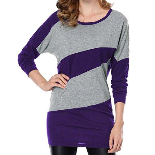 Manches Sexy Mode Longues T O Tops Automne Casual Femmes personnalit Shirt Classique Cebbay Blouse Chic Neck Nouveau Violet P7qE7
