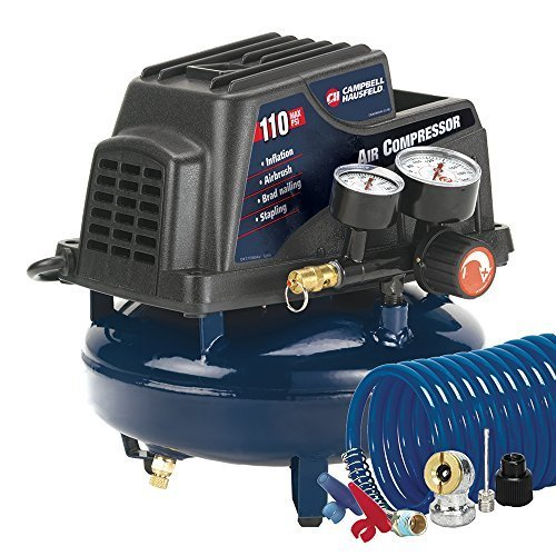 Campbell Hausfeld FP2028 1-Gallon Oil-Free Pancake Air Compressor with...