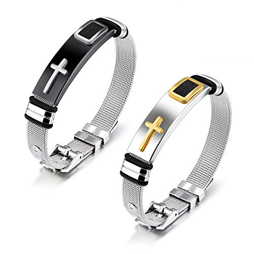 AIMITH Stainless Steel Mesh Strap Cross Bracelet Bangle for Women Men , Gold, Silver jewelry (Black)