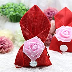 Moleya 20pcs Wedding Party Favor Candy Bags and Baby Shower Favors Gifts Bags with Thank You Tags(Red, 4.72x7.87 inch)