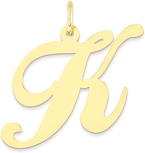 14K White Gold Large Fancy Script Initial K Charm