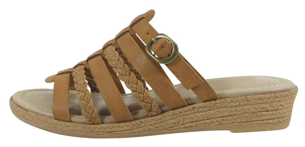 Cambridge Select Women's Braided Strappy Buckle Slip-On Comfort Slide Low Wedge Sandal (7.5 B(M) US, Tan PU)