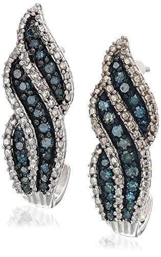 Sterling Silver .5 ct. TDW Treated Blue Diamond Dangling Stud Earrings (Blue, -