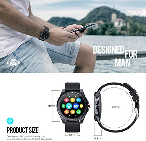 GOKOO Smart Watch for Men Heart Rate Monitor Sleep Tracker Smart Watch Full Touch Screen Activity Tracker Breathing Train IP68 Waterproof Sport Smart Watch Step Calorie Camera Music Control