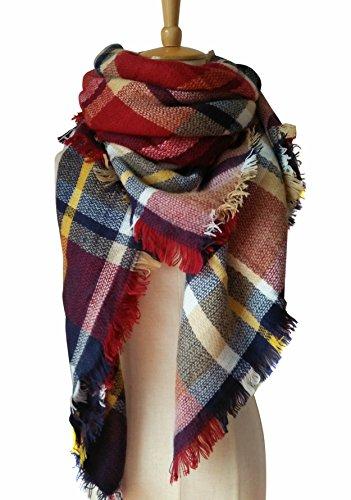 MOTINE Tartan Blanket Scarf Stylish Winter Warm Pashmina Wrap Shawl for Women (Stylish Wrap)