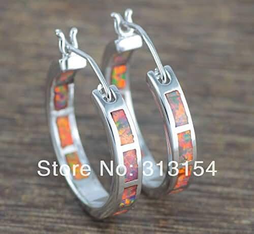 Chokushop Luxury Beautiful Retail For Women Jewelry Orange Fire Opal Silver Earrings 1
