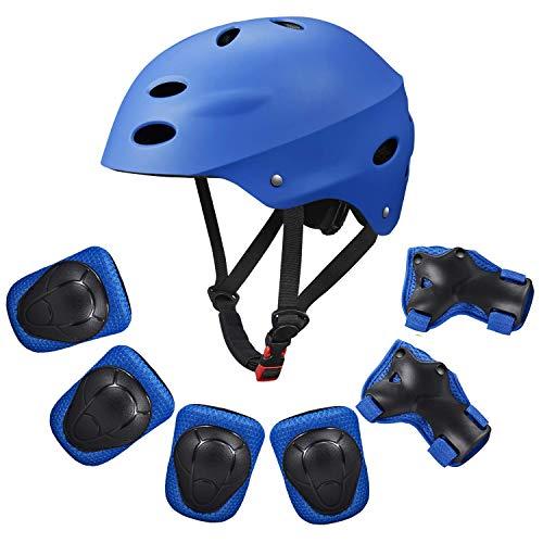 Kids Protective Gear Set,Child Helmet Knee Pads Elbow Pads Wrist Guards for Skateboard/Skate/Roller/Skateboard (Blue)