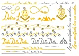 A-List Greek Metallic Temporary Tattoos - Delta Delta Delta Gold, Silver Sorority Symbols, Dolphins, Pansies, Rings, Bracelets, Necklaces   Premium Body Jewelry 2 Sheets Tattoo Set