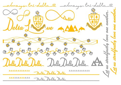 A-List Greek Metallic Temporary Tattoos - Delta Delta Delta Gold, Silver Sorority Symbols, Dolphins, Pansies, Rings, Bracelets, Necklaces | Premium Body Jewelry 2 Sheets Tattoo Set