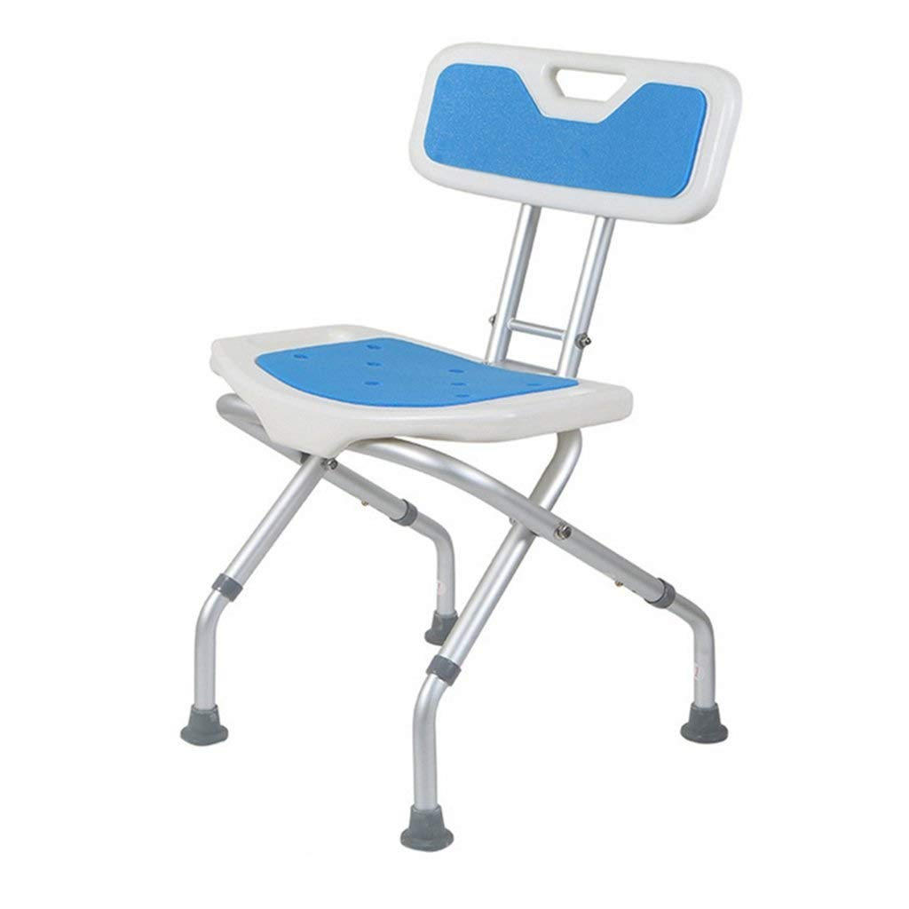 HUTNchar Foldable Shower/Bath Stools Aluminum Alloy Disability Aid Shower Chair Adjustable in 3 Height for Elderly/Disabled/Pregnant Bariatric