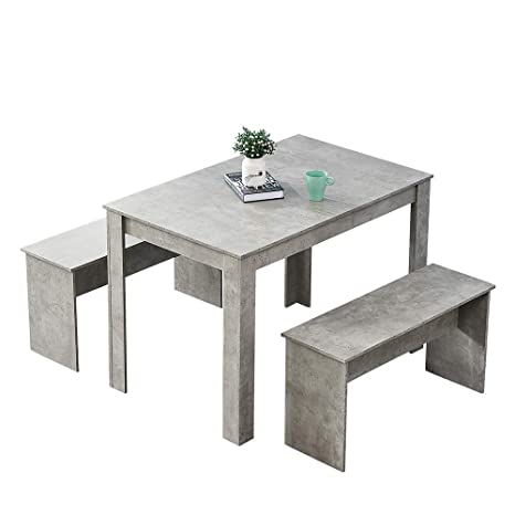 Outstanding Huisen Furniture Small Grey Dining Room Table And 2 Bench Alphanode Cool Chair Designs And Ideas Alphanodeonline