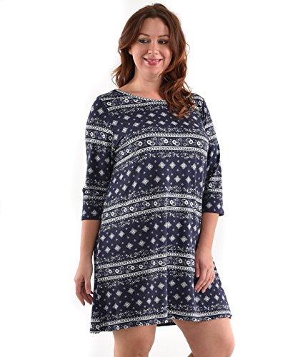 Allora Women's Plus Size 3/4 Sleeve Knit Tunic Dress (1X, Navy)