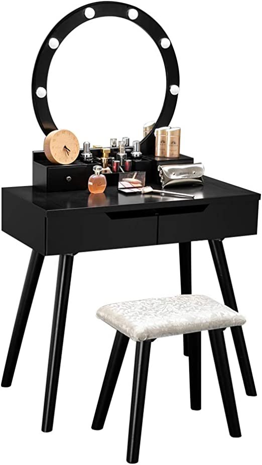 Bonnlo Vanity Table Set with Lighted Mirror Round Makeup Vanity Table with  8 Light Bulbs and Touch Switch,Bedroom Dressing Table with Cushioned Stool  ...