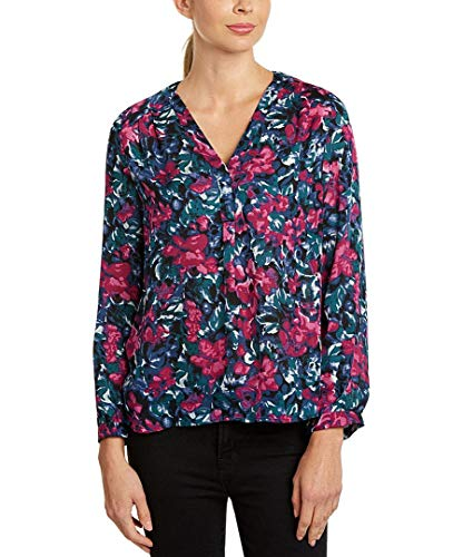Joie Anthia Pink Floral Silk Crepe V-Neck Pleat Long Sleeve Blouse Shirt -Medium ()