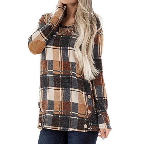 Bow Top Panel - Clearance Deals Patchwork Blouse,ZYooh Fashion Women Round Neck Long Sleeve Plaid Blouse Pullover Tops with Cuff Bow (Orange, L)