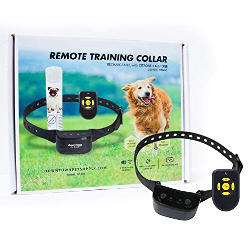 Downtown Pet Supply Remote No Bark Citronella Spray & Tone Rechargeable Anti Barking Safe & Humane Dog Training Collar for Small, Medium, and Large Pets