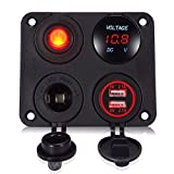 YonHan 4 in 1 Socket Charger Panel, 2 USB Socket Charger 2.1A & 2.1A + Red LED Voltmeter + 12V Power Outlet + ON-OFF Toggle Switch, Four Functions Panel for Car Boat Marine RV Truck Camper Vehicles