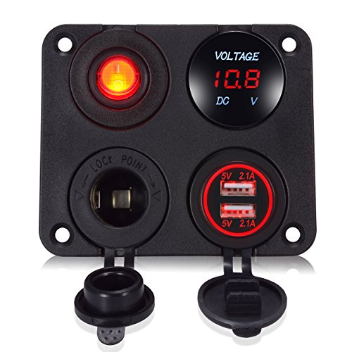AI Share Switch Panel.Voltmeter and Dual USB.12v USB Outlet.Boat Switch Panel.car Switch Panel.Marine Switch panelfor for Car Boat Marine RV Truck Camper Vehicles GPS Mobiles