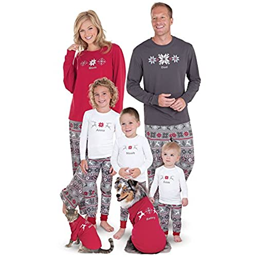 PajamaGram Holiday Nordic Matching Family Pajamas, Dog Medium, Red/Gray