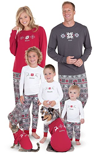 PajamaGram Holiday Nordic Matching Family Pajamas, Red/Gray, Womens SML (4-6) (Matching Holiday Pajamas)