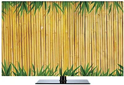 液晶テレビカバー 北欧風 防塵 汚れ防止 55Vのテレビに適用 装饰布 テレビを見ることができる 防風 葉 竹のテクスチャ背景の葉アジアの野生動物の自然なスタイルの装飾印刷 緑黄色