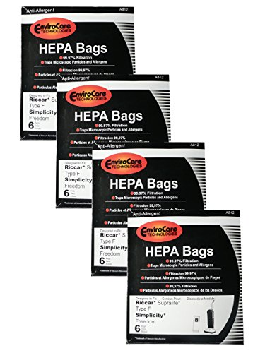 (24 Riccar HEPA Type F Vacuum Bags, Simplicity, Freedom, Supralite, Canister Vacuum Cleaners, RSLH-6, SF-6, RSL1, RSL1A, RSL1AC, RSL3C, RSL2, RSL3, RSL4, RSL5, RSL5C, SLPLUS, RFH-6, F3500)