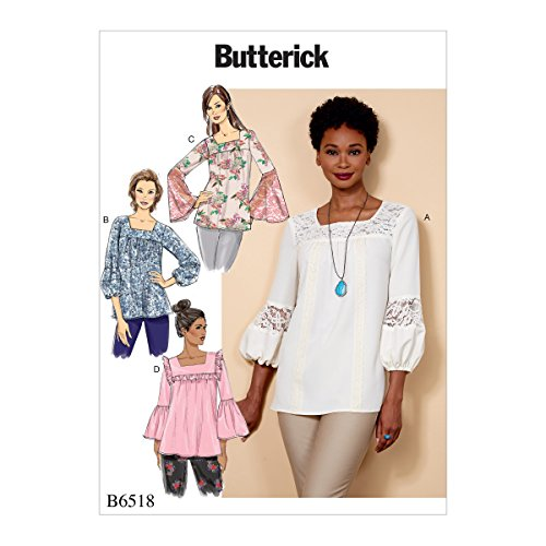 Butterick Patterns B6518A50 Misses' Square-Neck Top with Yoke, A5 (6-8-10-12-14)