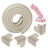 Baby Safety Profing Edge Corner Guards Set 6.5ft Edge Cushion+4 Corner Cushion Extra Thick (12 mm) Baby Foam Safety Toddler Protector Child Soft Non-Toxic Strip Softener Bumper Protector (Grey)
