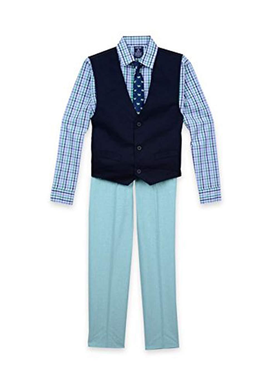 IZOD Boys' Four Piece Formal Vest Set (Big/Little/Toddler/Baby) (Light Green, 6)