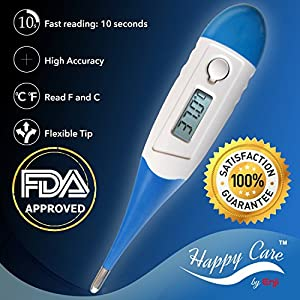 Best FDA Fast 10 Sec Reading Digital Medical Thermometer for Oral, Rectal, Axillary armpit Underarm Body Temperature by Enji, clinical Detecting Fever in Infant, Babies, Children, Adults and Pets