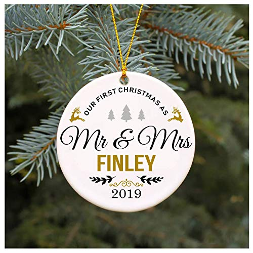 "Our First Christmas as Mr & Mrs Ornament 2019 Finley Christmas Tree Decorations, Present Wedding Ornament for Couple Married Wedding Decoration 3"" Ornament"