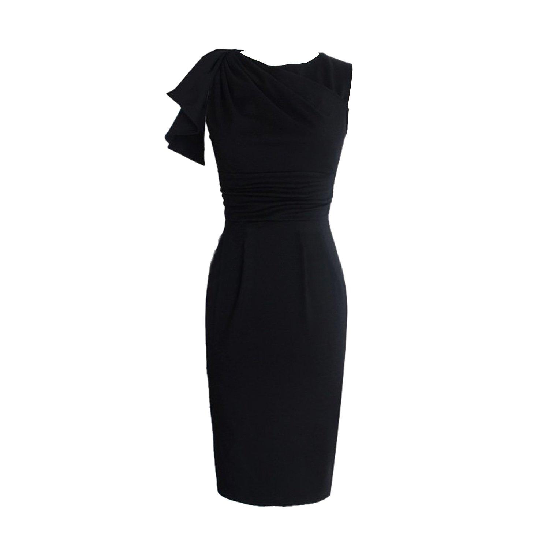 SUNNOW® 4 Farben Elegant Damen Kleider Formal mit Ärmel Partykleid Business-Kleid Bankett Abendkleid Cocktailkleid Knielang